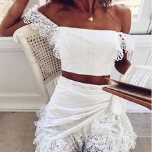 Load image into Gallery viewer, 2019 summer lace crochet blouses shirt off shoulder