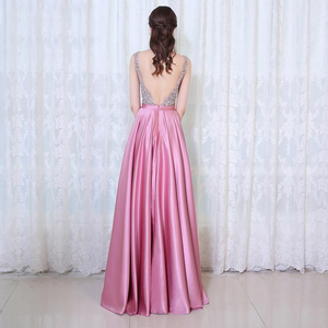 Beads Bodice Open Back A Line Long Evening Dress Party Elegant