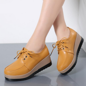 Flat Platform Shoes Genuine Leather Lace Up