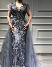 Load image into Gallery viewer, Dubai Grey Sleeveless Tulle Evening Dress