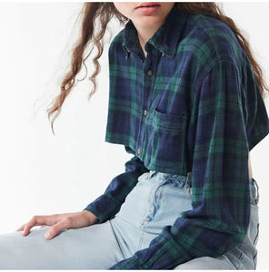 Plaid Casual Blouse Turn Down