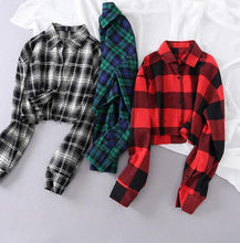 Load image into Gallery viewer, Plaid Casual Blouse Turn Down