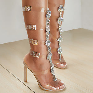 Plus Shoes Size 41 42 Sexy Gladiator knee High Transparent