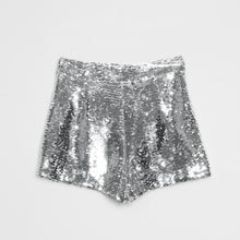 Load image into Gallery viewer, Sequin Shorts High Waist O-Ring Zip Front Bodycon