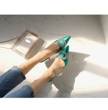 Load image into Gallery viewer, new stiletto pointed high heel rhinestone buckle