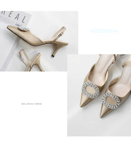 new stiletto pointed high heel rhinestone buckle