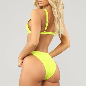 Neon Green High Waist bikini