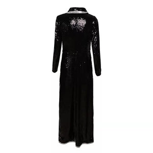 black sequins V-neck long-sleeved double-breasted