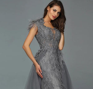 Dubai Grey Sleeveless Tulle Evening Dress
