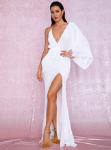 Load image into Gallery viewer, White V-Neck Single Sleeve Sequins Split Party Maxi Dress