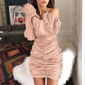 long puff sleeve slash neck satin pleated