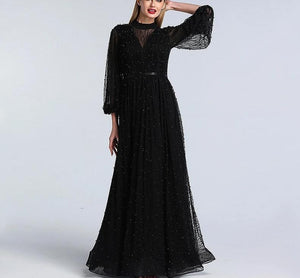 Black Peach Pearls Beach Tulle Evening Dress