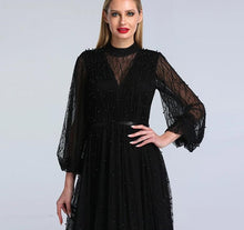 Load image into Gallery viewer, Black Peach Pearls Beach Tulle Evening Dress