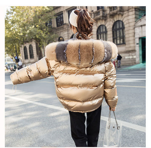 Winter Coat Big Fur Collar Silver Golden