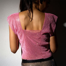 Load image into Gallery viewer, Shiny Rhinestones Grid T Shirt