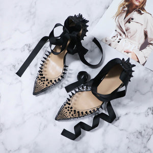 Luxury High Heels  Fashion Shoes Black Lace Up