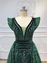 Load image into Gallery viewer, Dubai Evening Dresses  Long V Neck Sleeveless Dark Green