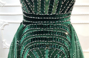 Dubai Evening Dresses  Long V Neck Sleeveless Dark Green