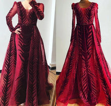 Load image into Gallery viewer, Velvet Wine Red Evening Dress