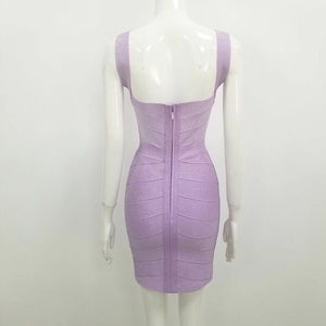 Sexy V Neck Backless Purple Shining Bandage Dress