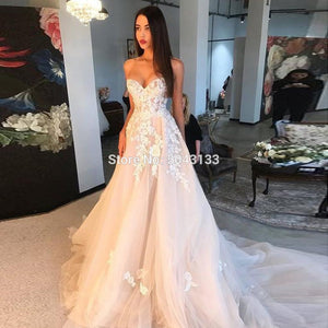 Charming Champagne Dress with Ivory Appliques 2020