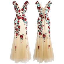 Load image into Gallery viewer, V Neck Flowers Sequin Evening Dress