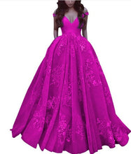 Load image into Gallery viewer, Elegant Off The Shoulder Ball Gown Satin Prom Dress