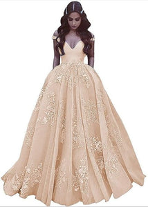 Elegant Off The Shoulder Ball Gown Satin Prom Dress