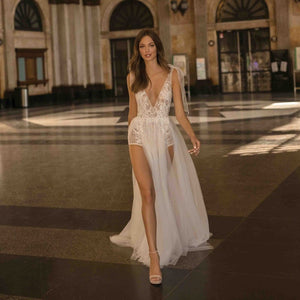 Dress Sexy Sheer V Neck Backless Lace