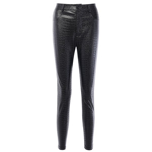 Black High Waist Pencil Faux Leather Pants