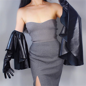 Long Leather Gloves 60cm Oversized