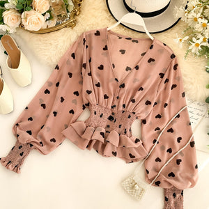 Romantic Heart Print Chiffon Blouse