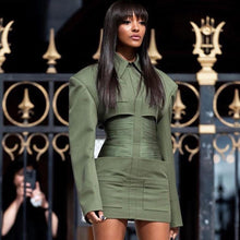Load image into Gallery viewer, Long Sleeve Army Green Celebrity Evening Runway Party Dress