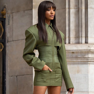 Long Sleeve Army Green Celebrity Evening Runway Party Dress