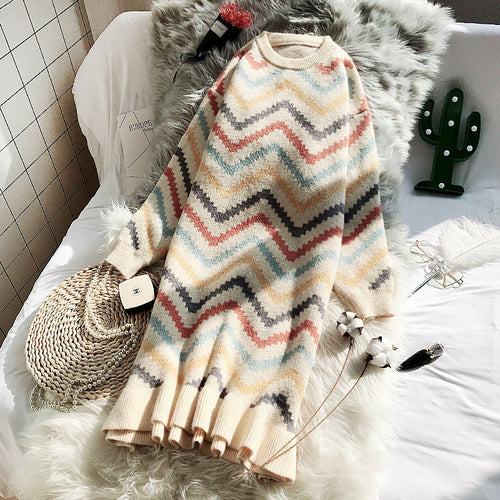 New Autumn and Winter Rainbow Striped Knit Dress