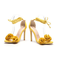 Load image into Gallery viewer, Slingback Flowers High Heel Open Toe Ankle Ties
