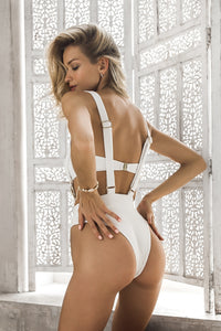 White Buckle one piece swimsuit