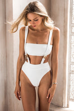 Load image into Gallery viewer, White Buckle one piece swimsuit