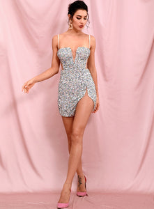 Sexy Tube Top Silver Cut Out Stretch Sequin Bodycon