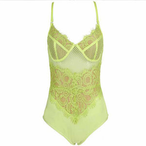 Green Strappy Sleeveless Lace Bodysuit