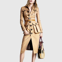 Load image into Gallery viewer, Long Sleeve High Waist Trench Coat