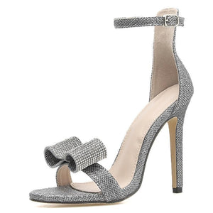 Rhinestone Sandals Silvery Butterfly-knot