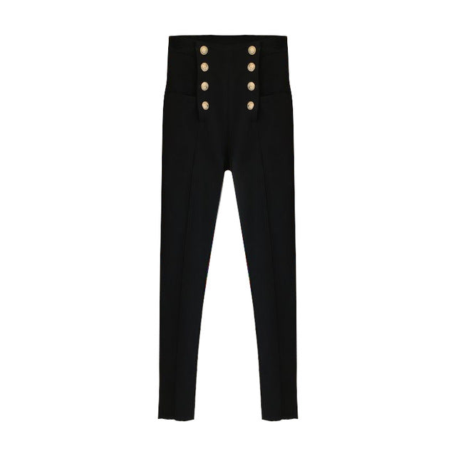 Black Jeans Autumn Winter Double-breasted Pants