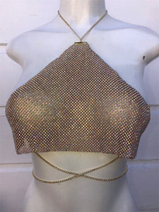 Halter Metal chain diamond crop top