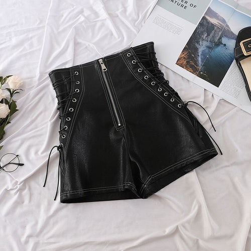 Black Leather Shorts Cross Bandage
