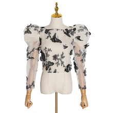 Load image into Gallery viewer, Embroidery Butterfly Mesh Shirt