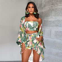 Load image into Gallery viewer, Floral Top Shorts Cardigan Long Sleeve Jumpsuit