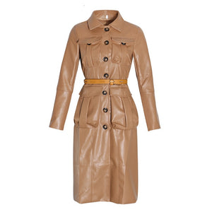 Long Sleeve High Waist Trench Coat