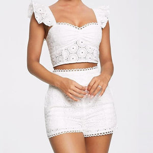 Lace Ruffles Hollow Out Top & Short Sets