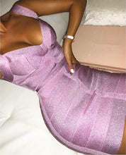 Load image into Gallery viewer, Sexy V Neck Backless Purple Shining Bandage Dress